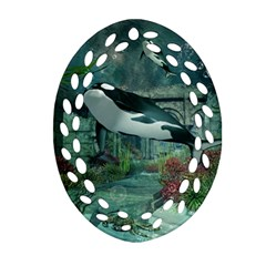 Wonderful Orca In Deep Underwater World Oval Filigree Ornament (two Sides) by FantasyWorld7