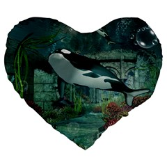 Wonderful Orca In Deep Underwater World Large 19  Premium Flano Heart Shape Cushions by FantasyWorld7
