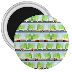 Cars And Trees Pattern 3  Magnets by linceazul