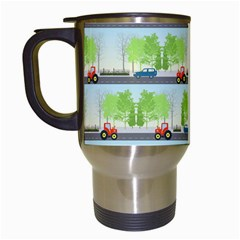 Cars And Trees Pattern Travel Mugs (white) by linceazul