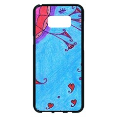 Hearts And Blue Samsung Galaxy S8 Plus Black Seamless Case