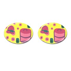 Candy Pink Hat Cufflinks (oval) by snowwhitegirl