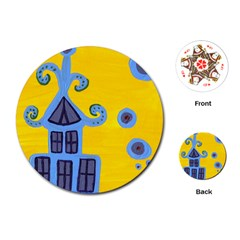 Blue House Playing Cards (round)  by snowwhitegirl