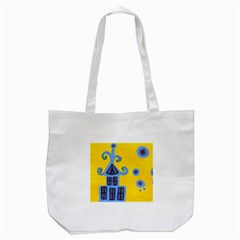 Blue House Tote Bag (white) by snowwhitegirl