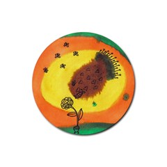 Pirana Eating Flower Rubber Round Coaster (4 Pack)