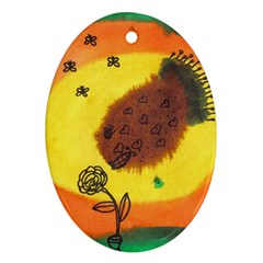 Pirana Eating Flower Oval Ornament (two Sides) by snowwhitegirl