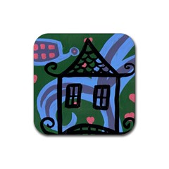 Smiling House Rubber Square Coaster (4 Pack)