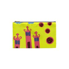 Three Houses Saying Ohhhh Cosmetic Bag (small) by snowwhitegirl
