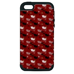 Snow Sleigh Deer Red Apple Iphone 5 Hardshell Case (pc+silicone) by snowwhitegirl