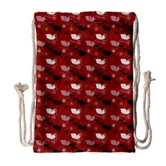 Snow Sleigh Deer Red Drawstring Bag (large) by snowwhitegirl
