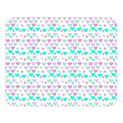 Hearts Butterflies White 1200 Double Sided Flano Blanket (large)  by snowwhitegirl
