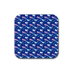 Snow Sleigh Deer Blue Rubber Square Coaster (4 Pack)  by snowwhitegirl