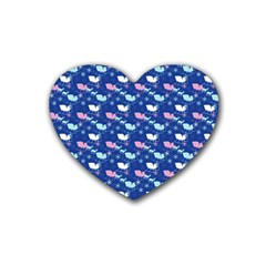 Snow Sleigh Deer Blue Rubber Coaster (heart)  by snowwhitegirl