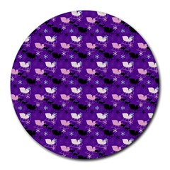 Snow Sleigh Deer Purple Round Mousepads by snowwhitegirl