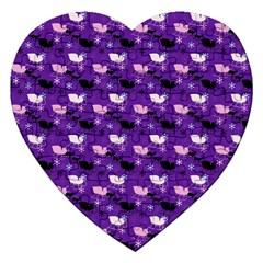 Snow Sleigh Deer Purple Jigsaw Puzzle (heart) by snowwhitegirl