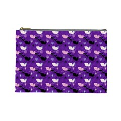 Snow Sleigh Deer Purple Cosmetic Bag (large) by snowwhitegirl