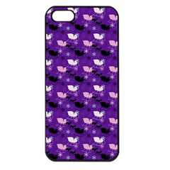 Snow Sleigh Deer Purple Apple Iphone 5 Seamless Case (black) by snowwhitegirl