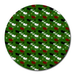 Snow Sleigh Deer Green Round Mousepads by snowwhitegirl