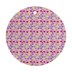 Hearts Butterflies Pink 1200 Ornament (round)