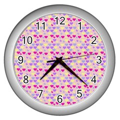 Hearts Butterflies Pink 1200 Wall Clock (silver) by snowwhitegirl