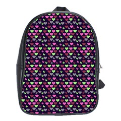 Hearts Butterflies Blue Pink School Bag (xl) by snowwhitegirl