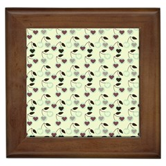 Heart Cherries Mint Framed Tiles by snowwhitegirl