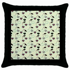 Heart Cherries Mint Throw Pillow Case (black) by snowwhitegirl