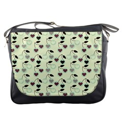 Heart Cherries Mint Messenger Bags by snowwhitegirl