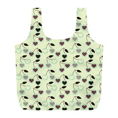 Heart Cherries Mint Full Print Recycle Bags (l)  by snowwhitegirl