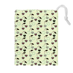 Heart Cherries Mint Drawstring Pouches (extra Large) by snowwhitegirl