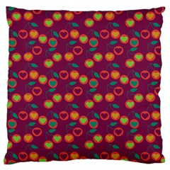 Heart Cherries Magenta Large Flano Cushion Case (one Side) by snowwhitegirl