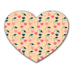 Heart Cherries Cream Heart Mousepads by snowwhitegirl