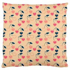 Heart Cherries Cream Large Cushion Case (two Sides) by snowwhitegirl
