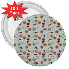 Heart Cherries Grey 3  Buttons (100 Pack)  by snowwhitegirl