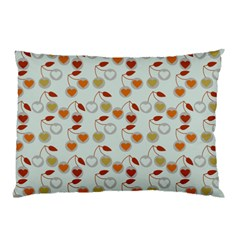 Heart Cherries Grey Pillow Case (two Sides) by snowwhitegirl