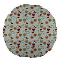Heart Cherries Grey Large 18  Premium Round Cushions by snowwhitegirl