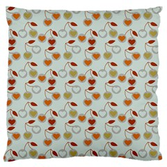 Heart Cherries Grey Standard Flano Cushion Case (two Sides) by snowwhitegirl