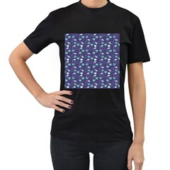 Heart Cherries Blue Women s T-shirt (black) (two Sided) by snowwhitegirl
