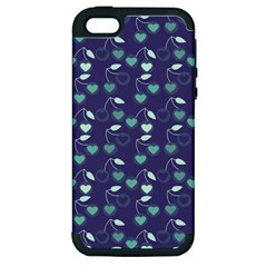 Heart Cherries Blue Apple Iphone 5 Hardshell Case (pc+silicone) by snowwhitegirl