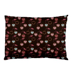 Heart Cherries Brown Pillow Case by snowwhitegirl