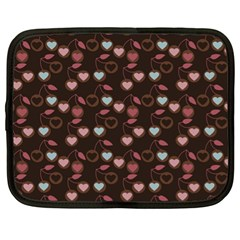Heart Cherries Brown Netbook Case (xl)  by snowwhitegirl