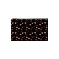 Heart Cherries Brown Cosmetic Bag (small) by snowwhitegirl