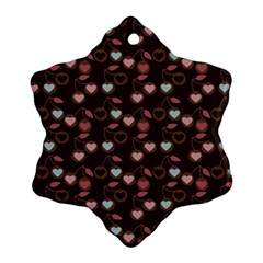 Heart Cherries Brown Snowflake Ornament (two Sides) by snowwhitegirl