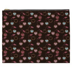 Heart Cherries Brown Cosmetic Bag (xxxl) by snowwhitegirl