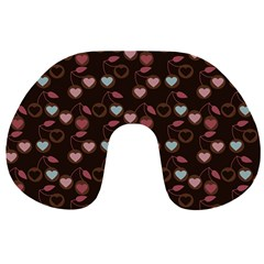 Heart Cherries Brown Travel Neck Pillows by snowwhitegirl