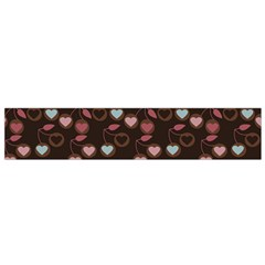 Heart Cherries Brown Small Flano Scarf by snowwhitegirl