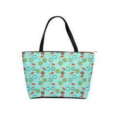 Light Teal Heart Cherries Shoulder Handbags by snowwhitegirl