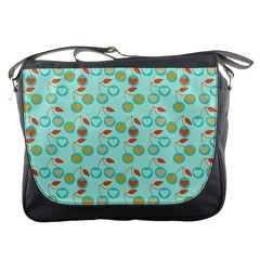 Light Teal Heart Cherries Messenger Bags by snowwhitegirl