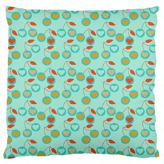 Light Teal Heart Cherries Large Flano Cushion Case (one Side) by snowwhitegirl