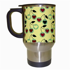 Yellow Heart Cherries Travel Mugs (white) by snowwhitegirl